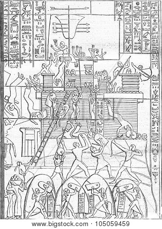 Seat of a fortress of ancient Egypt, after a bas-relief of Thebes, vintage engraved illustration. Magasin Pittoresque 1882.