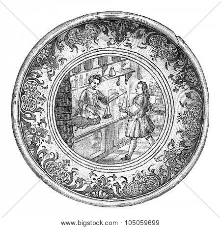 Earthenware bowl of Paris, A grocer counter in the eighteenth century, vintage engraved illustration. Magasin Pittoresque (1882).