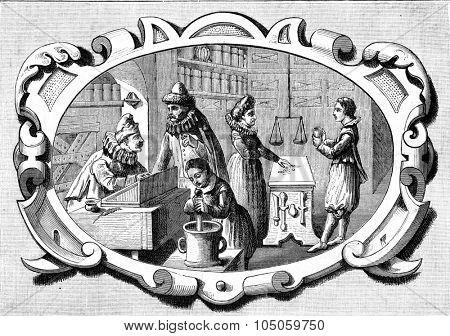 A Shop grocer to 1780, after Adrien de Vries, vintage engraved illustration. Magasin Pittoresque (1882).