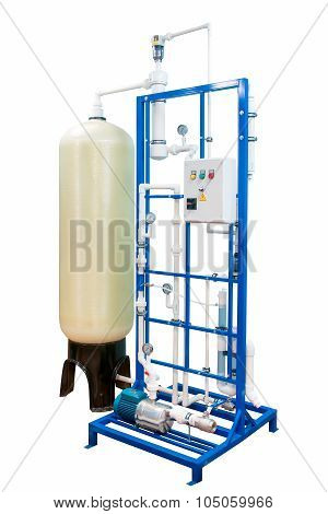 Water purification and ozonation equipment with control panel isolated on white with clipping path poster