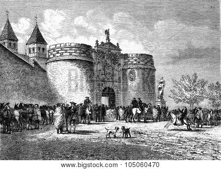 The Gate of Bisagra, Toledo, vintage engraved illustration. Magasin Pittoresque (1882).