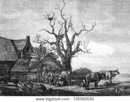 A Farm, Van de Velde, drawing after that of Van de Velde at the British Museum, vintage engraved illustration. Magasin Pittoresque (1882).