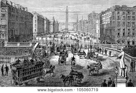 View of Dublin, drawing of saddler, vintage engraved illustration. Magasin Pittoresque (1882).