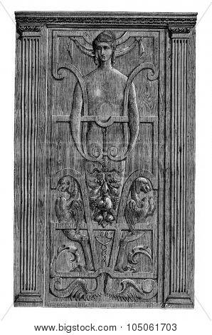 Carved panel belonging to Mr. Poule, vintage engraved illustration. Magasin Pittoresque 1877.