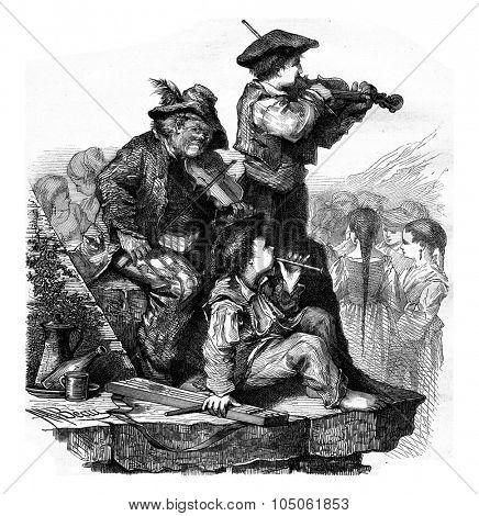 Basque fiddlers, vintage engraved illustration. Magasin Pittoresque 1877.