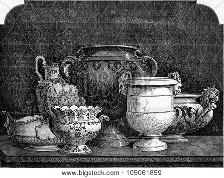 Earthenware of Bellevue, modern manufacturing, vintage engraved illustration. Magasin Pittoresque 1877.