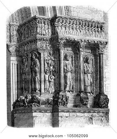 Fragment of the portal of Saint Trophime, Arles, vintage engraved illustration. Magasin Pittoresque 1867.
