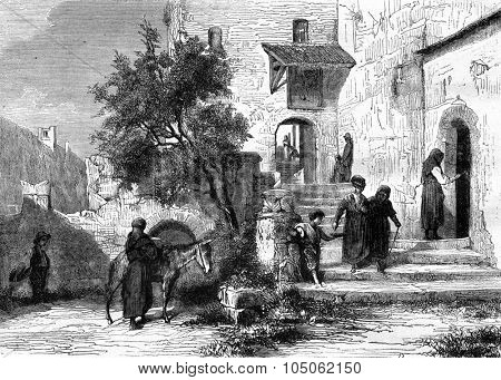 The Church of Valere in Sion, Valais, Switzerland, vintage engraved illustration. Magasin Pittoresque 1877.