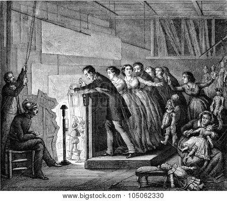 The Seraphim of Backstage Theatre in Paris, vintage engraved illustration. Magasin Pittoresque 1867.