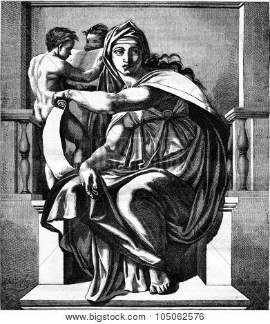 Sistine Chapel, The Delphic Sibyl, fresco by Michelangelo, vintage engraved illustration. Magasin Pittoresque 1877.