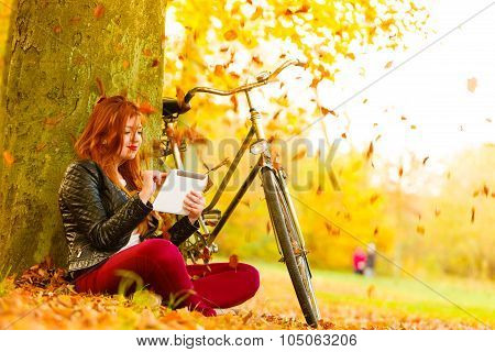 Woman In Autumn Park Using Tablet Computer Reading
