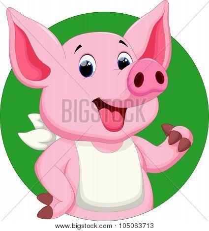 Cute pig thumbs up cartoon
