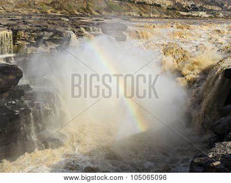 Hukou Waterfall, the largest water fall on the Yellow River