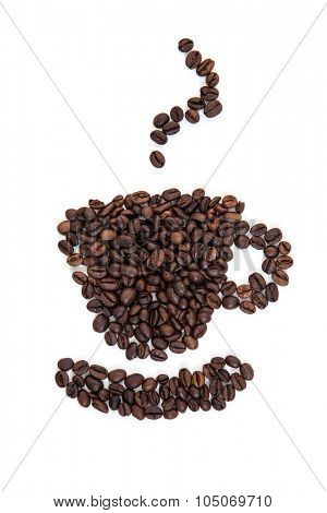 Cup of coffee out of roasted coffee beans. All on white background
