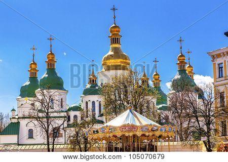 Saint Sophia Sofia Cathedral Spires Tower Sofiyskaya Square Kiev Ukraine