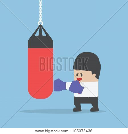 Businessman wearing boxing gloves and punch the punching bag VECTOR EPS10 poster