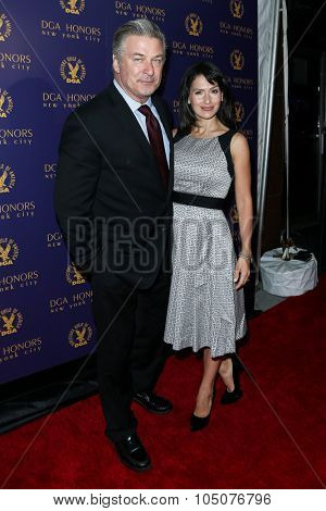NEW YORK-OCT 15: Actor Alec Baldwin (L) and wife Hilaria Baldwin attend the DGA Honors Gala 2015 at the DGA Theater on October 15, 2015 in New York City.
