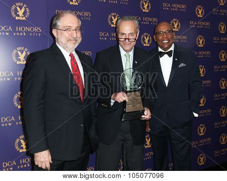 NEW YORK-OCT 15: (L-R) Vincent Misiano, Senator Charles Schumer and DGA President Paris Barclay attend the DGA Honors Gala 2015 at the DGA Theater on October 15, 2015 in New York City.