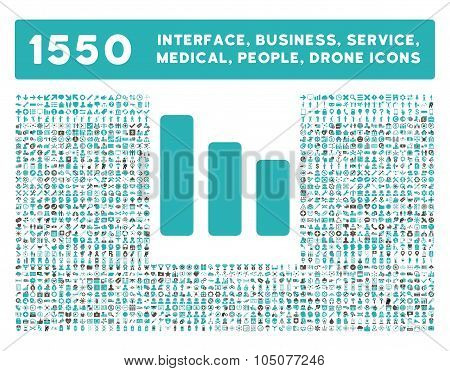 Bar Chart Decrease icon and other web interface, business, tools, people, medical service and awards glyph symbols. Style is bicolor flat symbols, grey and cyan colors, rounded angles, white background. poster