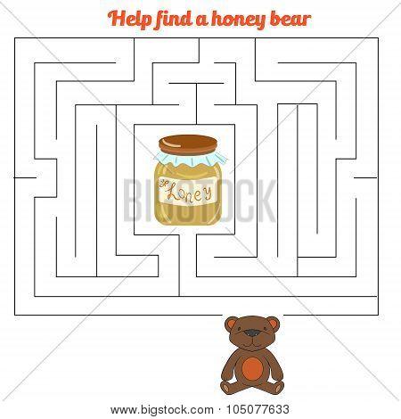 Labyrinth maze find a way bear honey