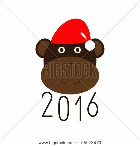 Happy New Year 2016 And Monkey In Christmas Hat Greeting Card