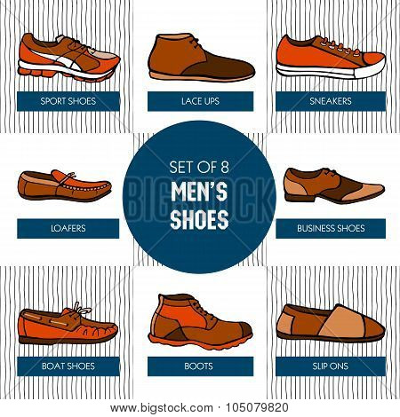 Set Of Hand Drawn Colorful Men's Shoes