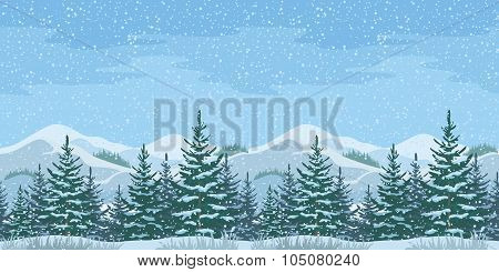 Seamless Christmas Winter Landscape