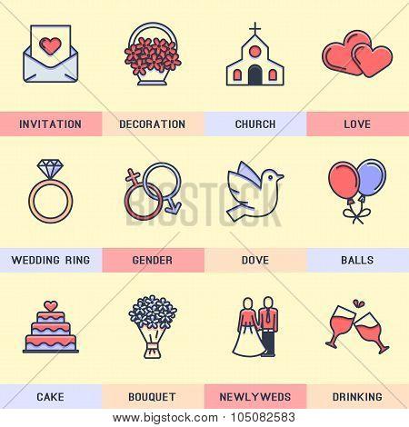 Wedding icons.