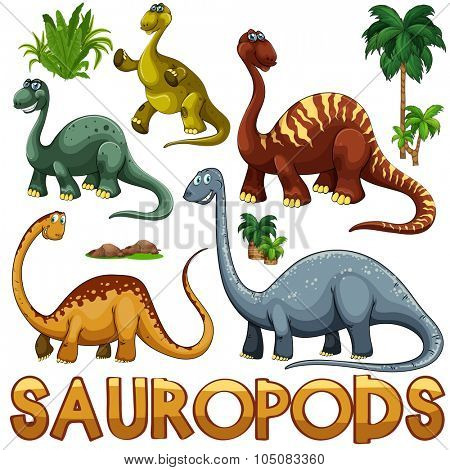 Different color of sauropods illustration
