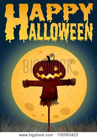 Halloween theme with scarecrow on fullmoon illustration