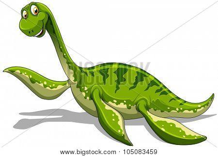 Green dinosaur with long neck illustration