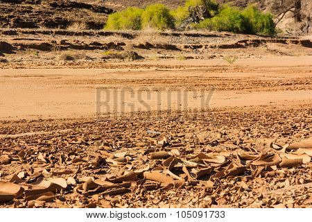 Dry Riverbed Surface Cracked