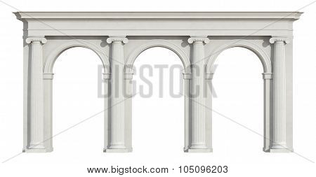 Ionic Colonnade On White