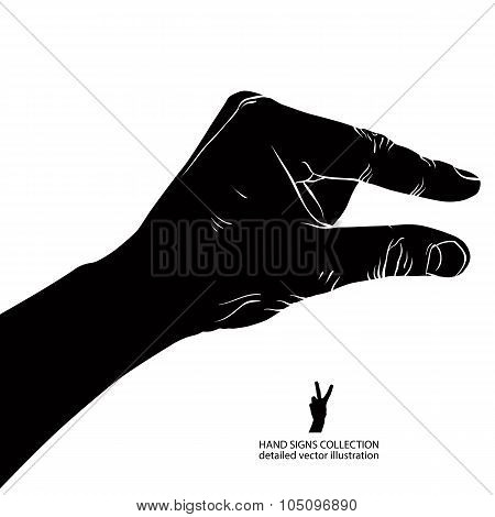 Hand Showing Small Value, Or Use It To Put Some Small Object Between The Fingers, Detailed Black