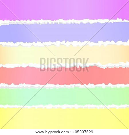 Torn crumple colorful paper, adhesive sticky tape