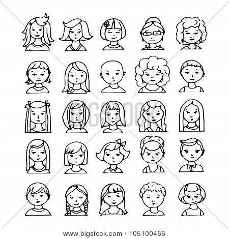 set of 25 hand drawn avatars. vector illustration