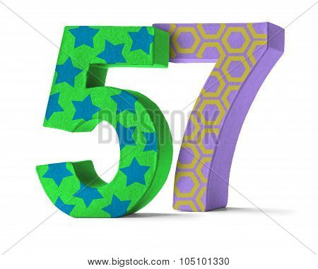 Colorful Paper Mache Number On A White Background  - Number 57