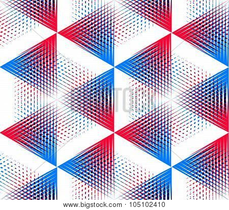 Vector Seamless Optical Ornamental Pattern With Three-dimensional Geometric Figures. Intertwine Colo