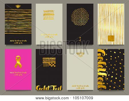 Gold Foil Business Cards or Artist Trading Cards - Business cards with gold foil, with hand drawn doodle elements, calligraphy and in black, white and gold, with pink breast cancer ribbon card