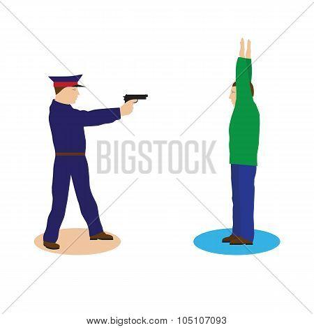 Criminal, Offender And Police Officer.