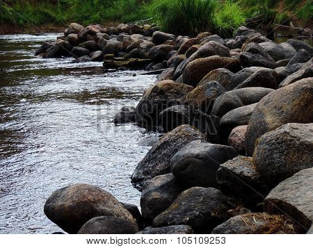 Picturesque Beautiful View Of A Dynamic Watercourse Of River