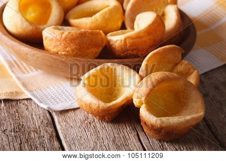 English Cuisine: Yorkshire Pudding Homemade Close-up. Horizontal