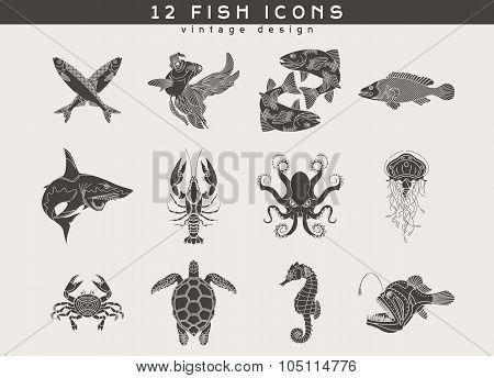 Fish And Sea Food Icons