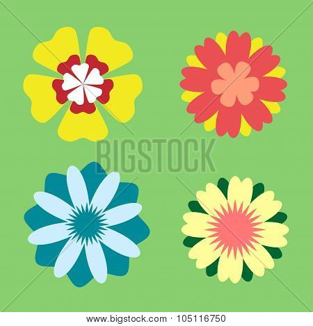 Vector flowers icons illustration