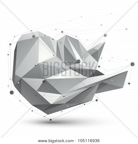 3D Mesh Modern Vector Polygonal Abstract Object, Origami Futuristic Symbol With Lines Mesh.