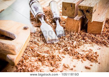 joiner tools on wood table background . poster