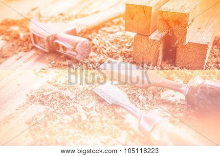 Joiner Tools On Wood Table Background.made With Color Filters,blurred Focus.