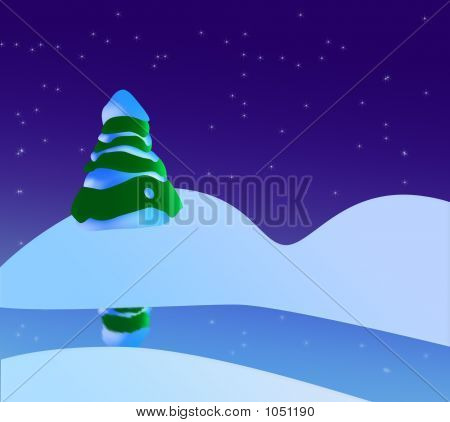 A Snowy Christmas Scene With Christmas Tree, River And Stars