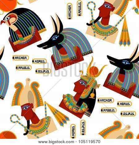 Egyptian Gods.  Hathor, Horus, Anubis, Osiris. Seamless Background Pattern.