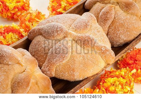 Sweet Bread Called (pan De Muerto) Enjoyed During Day Of The Dead Festivities In Mexico.